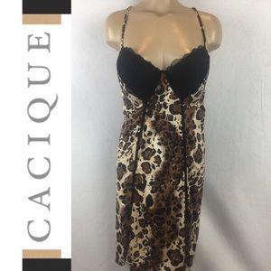 Cacique Black & Tan Animal Print Sleep Dress 22/24